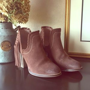 Unbridled Ariat suede bootie with fringe